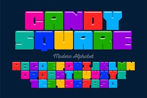 Original square display font design