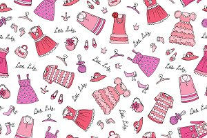 Pattern with clothes for little girl