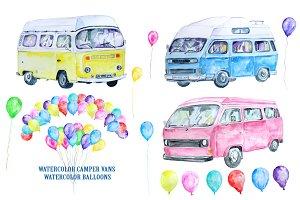 Watercolor Classic Campervan