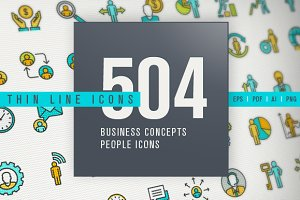 Thin Line People Icons Bundle