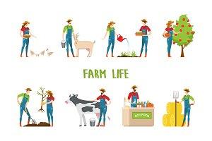 Man and woman doing farm work