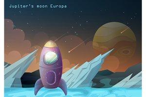 Europa moon, Jupiter satellite with