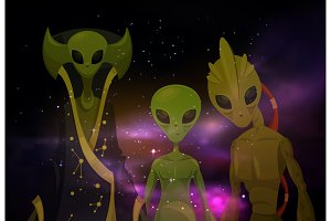 Aliens or martians at space or