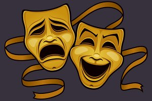 Gold Comedy And Tragedy Theater Mask