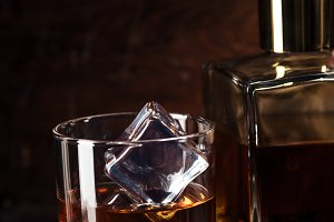close-up view of glass of cognac wit