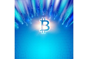 Abstract blue lights bitcoin.