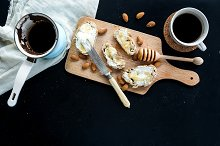 Breakfast set: coffee and sandwiches