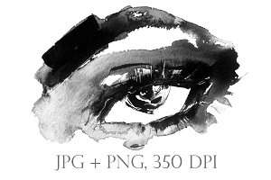 Female eye with long lashes, ink