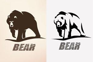 Bear stylized symbol set