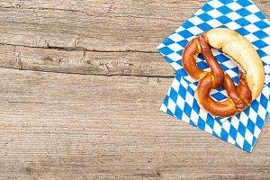 Bavarian bread pretzel wooden board