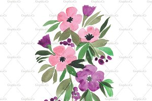 Floral watercolor clipart PNG + JPG
