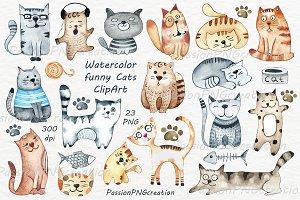 Watercolor funny Cats Clipart