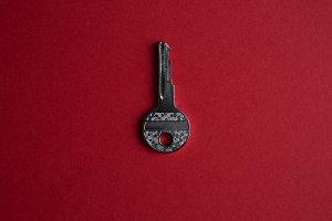 Door key in center of empty red