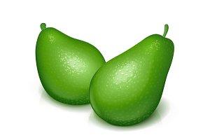 Ripe, juicy green avocado. Vector.