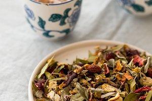 Spring detox concept.  Herbal tea in