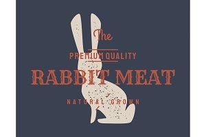 Rabbit. Vintage logo, retro print