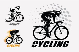 Racer on the bike logo template