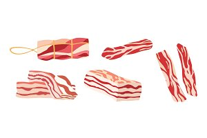 Colored bacon icon with three