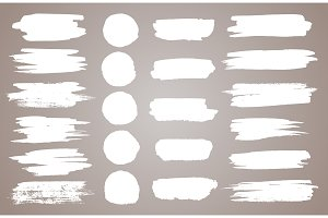 Set of white ink vector stains