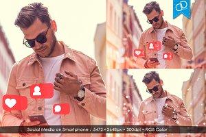 Man Using Social Media on Smartphone