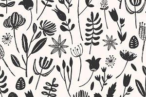 Folk Botanical Seamless Pattern