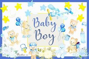 Baby Boy Watercolor Clipart