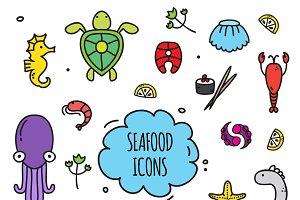 Seafood icons set