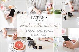 Social Media Morning Stock Photo Bun