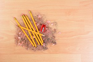 Pencils on Shavings