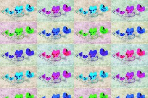 Bright Pop Art Floral Collage Patter
