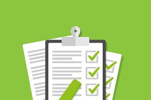 Clipboard with green ticks checkmark