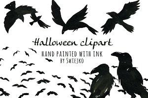 Halloween Ravens, clipart