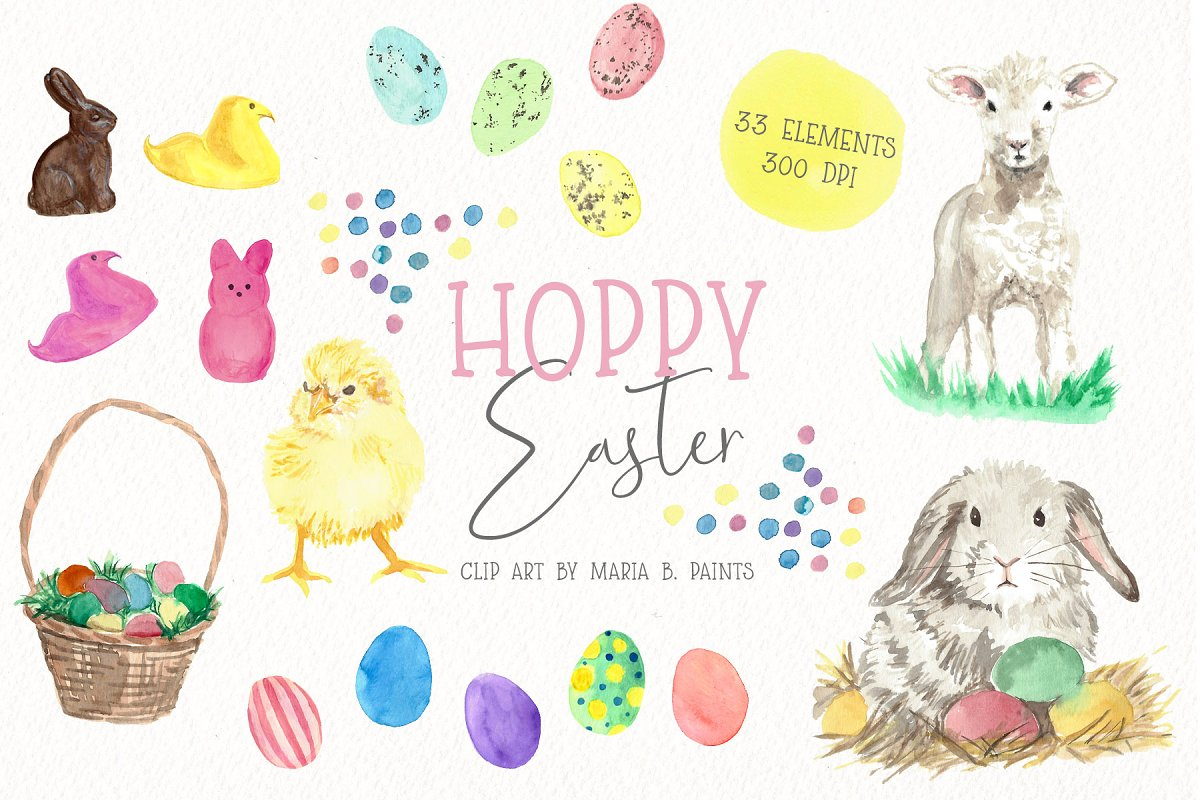 Easter watercolor. Clipart spring
