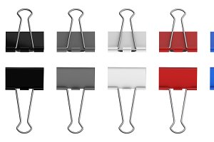 Colorful paper binder clips set on w