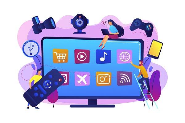 Smart TV accessories concept vector