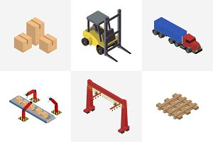 Logistics business industrial icons