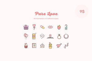 Pure Love illustrated icons