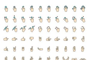 Hand sign icon set