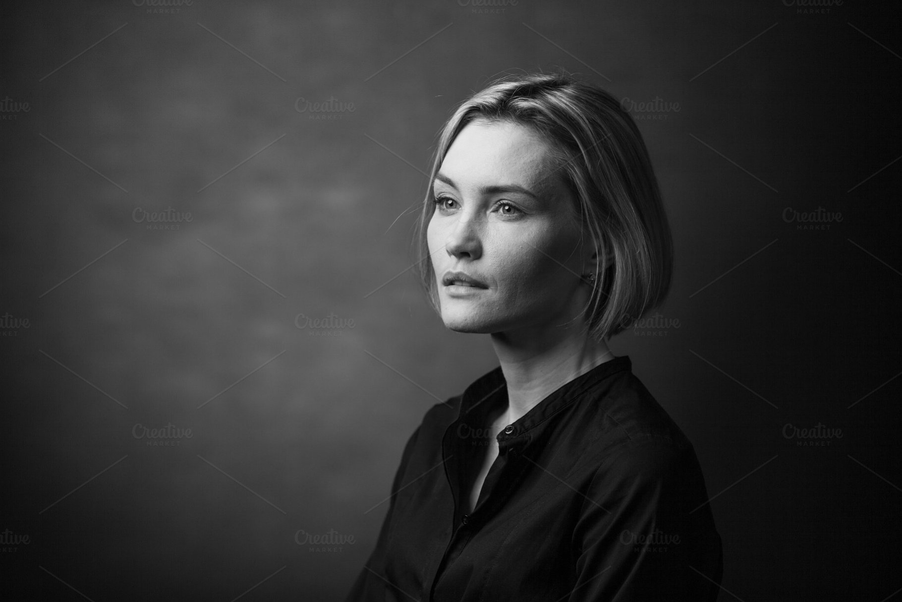 Save dramatic black and white portrait of