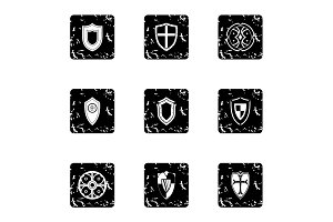 Shield icons set, grunge style