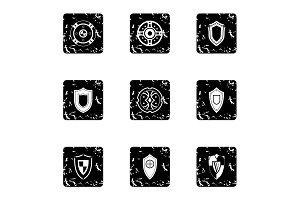 Military shieldd icons set, grunge