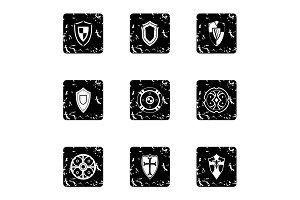 Army shield icons set, grunge style