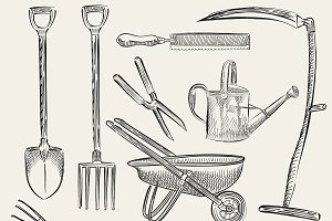Illustration of a set of gardening