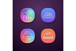 Orthopedic mattress app icons set