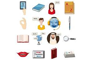 Translator profession icons set