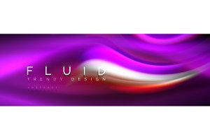 Fluid colors mixing glowing neon