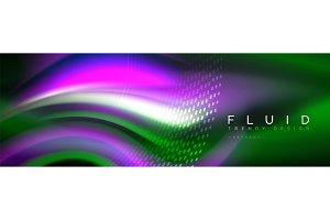 Fluid color neon wave lines