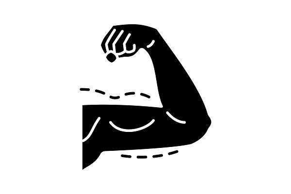 Male arm lift surgery glyph icon
