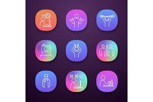 Emotional stress app icons set