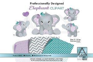 Elephant Clip art,Baby Girl elephant